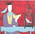 Anora Spence: Man with Bird Cage(red)